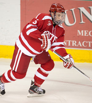 BU\'s Matt Grzelcyk is a player to watch in Hockey East this season.