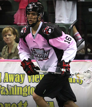 Mitch Jones while playing for the Stealth, a professional lacrosse team.