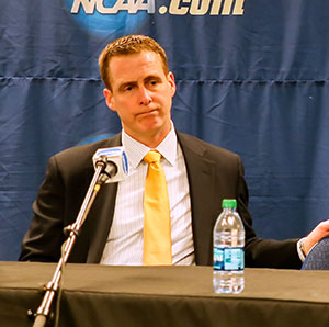 Quinnipiac coach Rand Pecknold was left frustrated by his team\'s First Round loss. (photo: Robert Dungan)