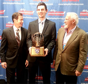 From left: Mike Richter, Connor Hellebuyck and Bernie Parent