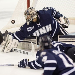UNH\'s Casey Desmith brings a .922 save percentage into the playoffs.
