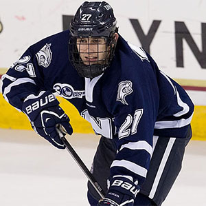 New Hampshire\'s Kevin Goumas had a hat trick in Game 3 against Northeastern last week. (photo: Rich Gagnon)