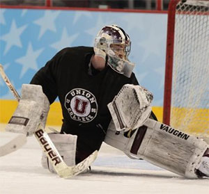 Union goaltender Colin Stevens at Wednesday's practice session at the Wells Fargo Center. (photo: Pedro Cancel)