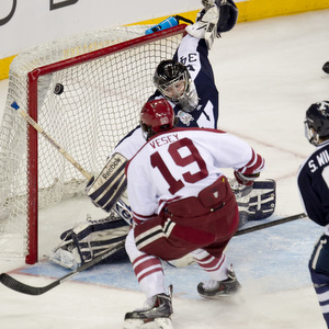 Jimmy Vesey scores Harvard\'s lone goal of the night. (photo: Robert Dungan)