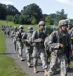 The 12-mile march back to West Point signifies the end of basic training.