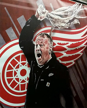 Image of Al Sobotka in a painting at Joe Louis Arena.