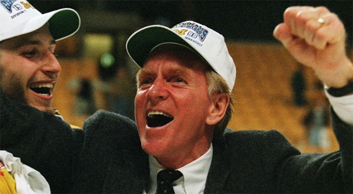 Red Berenson after winning the 1998 national championship in Boston.