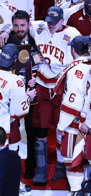 Tariq Hammond was able to get back on the ice to celebrate after Denver won the national title. (photo: Joe Koshollek)