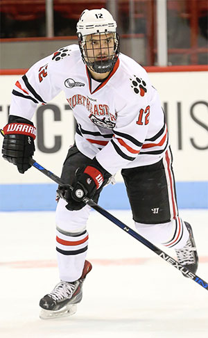 Northeastern's Zach Aston-Reese leads the nation with 59 points.