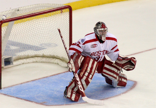 BU goaltender Kieran Millan broke the program's career wins record on Saturday, earning his 62nd a 5-0 win over UNH.