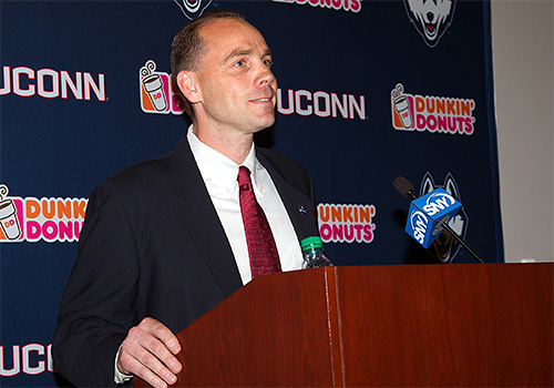 Mike Cavanaugh was introduced Thursday at UConn's new coach. (photo: UConn Athletic Communications)