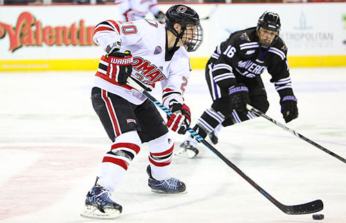 Sophomore Jake Guentzel leads UNO with 4 goals and 9 points in 4 games.