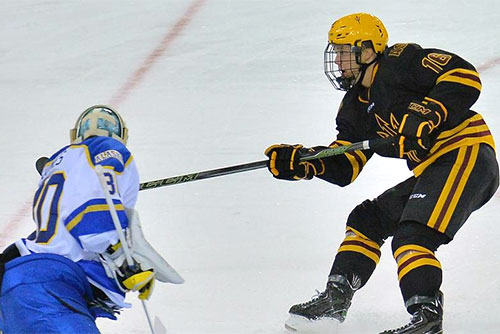 Ryan Belonger, a transfer from Northeastern, scores the game winner for ASU. (photo: ASU Sports Information)