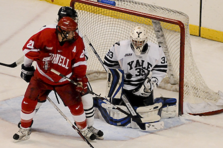 Yale goalie Alec Richards makes a stop